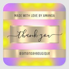 Thank You Shopping Custom Holograph Gold Square Sticker Anniversary Party Favors, Wedding Anniversary, Bridal Shower Favors, Love Is Sweet, Business Supplies, Custom Stickers, Keep It Cleaner, Holiday Cards, Activities For Kids