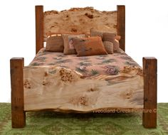 Barn Wood Bed with Live Edge Burl Slabs