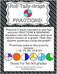 Practice 2 math concepts in one fun activity! FRACTIONS & GRAPHING! Students roll the fractions dice and record results in a graph. Then they answer questions using the graph!  *Fractions used in this activity include: 1, 1/2, 1/4, 3/4, 1/3 & 2/3* Fractions dice comes in color & black/white/gray! $