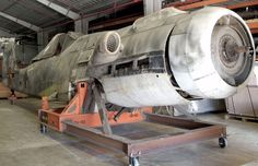 Fuselage of a captured German WWII FockeWulf Ta-152 H-0 advanced fighter, currently stored at the Paul E. Garber Restoration and Storage Facility. This aircraft was surrendered to an RAF intelligence team and later transferred to the US for evaluation.
