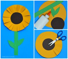 This paper sunflower craft is a great craft for kids to end the summer and start the fall. It requires very little to prep and works on scissor skills Crafts for kids Sunflower Craft for Kids - Playdough To Plato Fall Crafts For Kids, Summer Crafts, Toddler Crafts, Art For Kids, Kids Diy, Winter Craft, Kid Art, Autumn Activities, Craft Activities