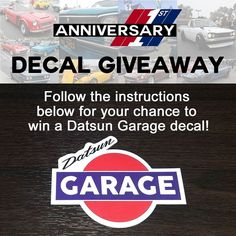 For your chance to win a free Datsun Garage logo decal:  1. Follow us on IG Facebook or Twitter 2. Post a photo of your favorite Datsun 3. Tag us in the photo 4. Mention @datsungarage anywhere in the caption  For every 10 people who share a photo we will random off one Datsun Garage logo decal from our store:  http://ift.tt/2bra1CX  Photos posted by 11:59pm Pacific tonight will qualify random drawing will take place tomorrow morning.