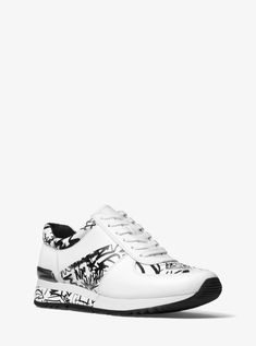 df3040806a3c Allie Logo Graffiti Leather Sneaker by Michael Kors