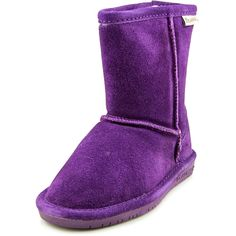Bearpaw Girl's Emma Youth 6.5'' Snow Boots, Purple Suede, Rubber, 3 Little Kid M. 6 1/2'' tall. Wool blend lining. Sheepskin footbed. Woven heel and collar logo. Imported.