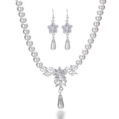 Fashion Faux Pearl Crystal Necklaces Earrings Jewelry Set Ladies Wedding Prom