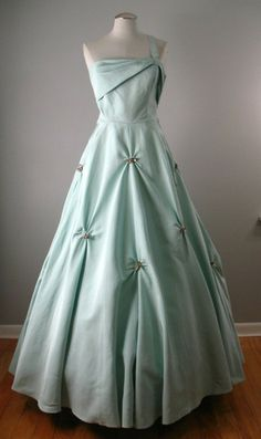~Vintage 50s Evening Dress~ FILCOL Prom Ball Gown XS bust 33