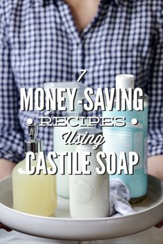 7 Money-Saving Recipes Using Castile Soap 7 Money-Saving Recipes Using Castile Soap! So many amazing, natural uses for castile soap. I love the bathroom cleaner, face wash, and hand soap. So many more you can make with just one bottle of castile soap. Homemade Cleaning Products, Cleaning Recipes, Natural Cleaning Products, Cleaning Hacks, Household Products, Cleaning Supplies, Bath Products, Natural Products, Natural Soaps