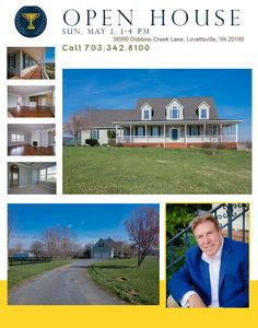 OPEN HOUSE at this beautiful Lovettsville Farm Home in 38990 Dobbins Creek Lane, Lovettsville, VA 20180 on Sunday, May 1st from 1-4 pm. Home is updated and newly priced! Call Gene Mock for more information at 703.342.8100 today!