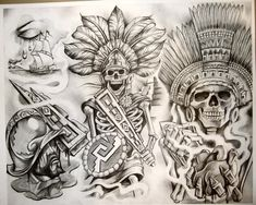 Lessons That Will Get You In The arms of The Man You love Mayan Tattoos, Aztec Tribal Tattoos, Aztec Tattoo Designs, Mexican Art Tattoos, Aztec Art, Indian Tattoos, Payasa Tattoo, Inca Tattoo, Tattoo Hals