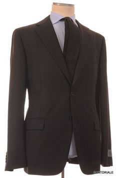 BELVEST Hand Made Black Herringbone Wool Super 110's Suit EU 56 NEW US 46 R7