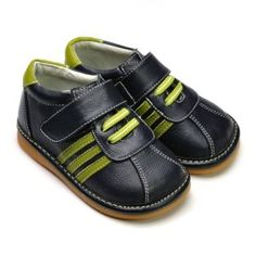 1b2288a6eb6 Toddler boys Freycoo leather sneaker in navy with green stripe. Removable  squeaker in sole. Australian stockist Tiptoe   Co.