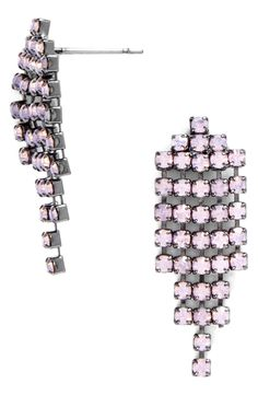 These disco inspired pink gem waterfall earrings are perfect for a night out.