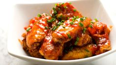 Addictively spicy and sweet baked chicken wings.