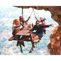 Mountain cliff picnic