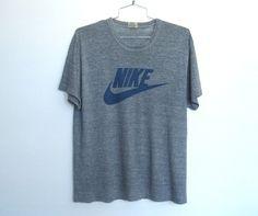 97917eba697 Details about Vintage 70 - 80s Nike Tri Blend Heather Gray   Grey Tshirt    Blue Swoosh Tee