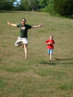 Alex and Ian running downhill