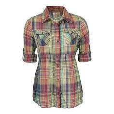 BKE Cinch Plaid Shirt ($17) ❤ liked on Polyvore featuring tops, shirts, blusas, blouses, khaki green, khaki shirts, khaki green top, green plaid shirts, plaid shirts and khaki green shirt