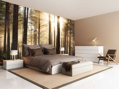 Wall mural Forest creates a stylish ambience in the apartment! - New Decoration ideas Bedroom 2018, Bedroom Wall, Bedroom Ideas, Home And Living, Living Room, Room Goals, Extra Rooms, Room Themes, Wall Murals