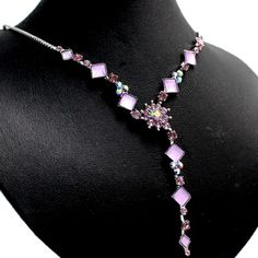 Violet Flower Square Crystal with gifts box Earring Necklace Set NS1178B