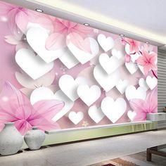 Stereo Warm Romantic Love TV Background Mural Photo Wallpaper Living Room Girls' Bedroom Home Decor Wallpaper Papel De Parede