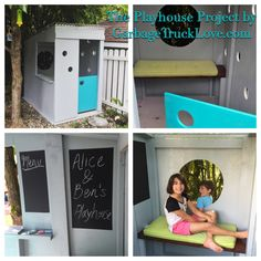Small, light-filled space for creative play in the yard. Build A Playhouse, Creative Play, Play Houses, Toddler Bed, New Homes, Backyard, Space, Modern, Projects