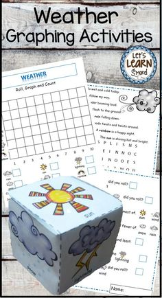 Great activities for you weather unit! Learning cube plus graphing activities, also includes a poetry word search. #weather #graphing #math #kindergarten