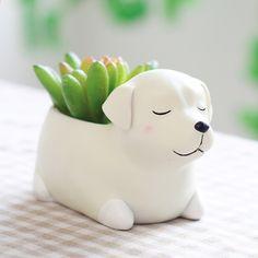 Creativo de Dibujos Animados Perros Jarrón de Flores Perrito Plantador de Resina para Suculentas Lindo Corgi Mini Jardinera Olla de Escritorio Jardín Bonsai
