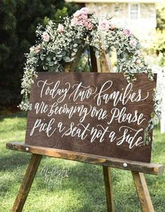 11 Clever Signs You'll Want At Your Wedding - Wilkie: Let guests sit wherever they please and show the unity of two families becoming one with this pick a seat not a side sign!