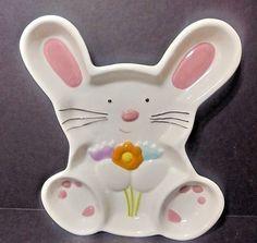 "Ceramic Easter Bunny Rabbit Candy Treats Dish/Plate - 8 1/2"" x 7"" - NWT"