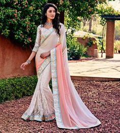 Net Machine Work Cream & Pink Saree - J7189