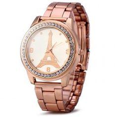 Eiffel Tower Women Diamond Quartz Watch with Stainless Steel Band