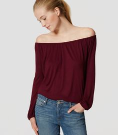 Primary Image of Petite Knit Peasant Top