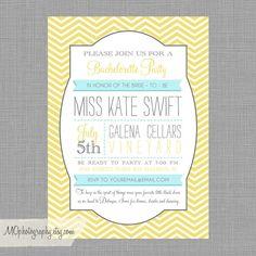 Bachelorette or Bridal Party Modern Invite - Yellow Chevron with Grey - Digital File. $14.99, via Etsy.