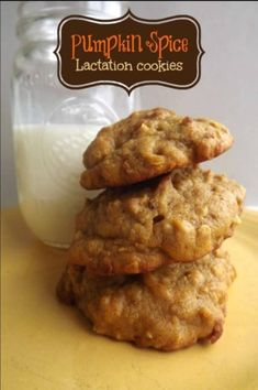 Pumpkin Spice Lactation Cookies recipe with whole oats, brewer's yeast, and fl. Pumpkin Spice Lactation Cookies recipe with whole oats, brewer's yeast, and flax meal to provide your body needed nutr Breastfeeding Foods, Breastfeeding Support, Baby Feeding, Breast Feeding, Baby Food Recipes, Free Recipes, Pumpkin Spice, Pumpkin Puree, Just In Case