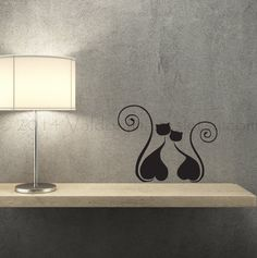 Black silhouette of two cats in love wall decal by ValdonImages #catlover #kitties #wallstickers