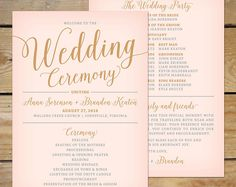 { Printable Wedding Program } This Bella Script wedding program printable featuring a lovely modern calligraphy font is great for the DIY bride looking for pink and gold wedding decor!  Purchase Includes: ....Printable Wedding Program ....Double-sided, 4x9.25 or 5x7 inches  Customization Includes: • Wording Changes • Color Changes (see chart) • 3 rounds of revisions (proofs)  Select your desired format using the drop down menu on the right. Other matching stationery items are also available…
