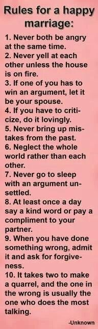 Rules for a happy marriage