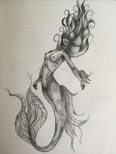 Upright/Arms out and down Mermaid Drawings, Mermaid Tattoos, Art Drawings, Mermaid Images, Mermaid Art, Body Art Tattoos, Cool Tattoos, Tattoo Art, Geniale Tattoos