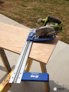 Rip-Cut on Amazon for $30 by Kreg Jig. Attaches to your circular saw - eliminates the need for a large table saw.