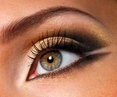 Smokey eye makeup golden