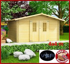 Details about Heavy Duty Storage Shed Outdoor Yard Tool Cabin Wood Log Cabin Garden Lawn House Patio Storage, Garden Storage Shed, Storage Shed Plans, Gazebo Pergola, Deck With Pergola, Log Cabin Sheds, Gable Roof Design, Shade Tent, Canopy Shelter