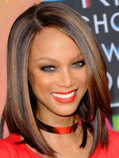 Coppery highlights for dark hair