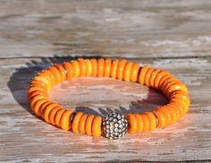 Orange Heshi Beaded Bracelet with Pave Focal  / Handmade Beaded Bracelets via Etsy