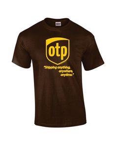 OTP Parody Logo Shirt - Shipping Anything, Anytime, Anywhere. Hand-Printed from TheAardvark on Etsy. Saved to Tops. John Barrowman, We All Mad Here, Fandom Outfits, Geek Chic, Funny Shirts, In This World, Cool Stuff, Stuff To Buy, Nerdy