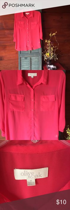 Sheer coral top Sheer coral blouse. Super comfy. Great condition. Three quarter sleeves. Olive & Oak Tops Blouses