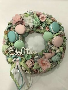 Crafts To Sell, Diy And Crafts, Flower Cookies, Summer Wreath, How To Make Wreaths, Grapevine Wreath, Making Ideas, Garland, Floral Design