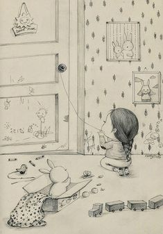 Whimsical drawings of a girl and her pet rabbit by Korean artist Coniglio based in Milan. Illustration Sketches, Graphic Design Illustration, Art Sketches, Rabbit Drawing, Bunny Art, Cute Cartoon Wallpapers, Whimsical Art, Artist Art, Cute Drawings