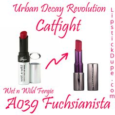 Urban Decay Revolution Lipstick Catfight Dupe Wet N Wild Fergie Fuchsianista A039 Skincare Dupes, Drugstore Makeup Dupes, Lipstick Dupes, Beauty Dupes, Makeup Swatches, Lipsticks, Beauty Makeup, Cruelty Free Makeup Dupes, Makeup Products
