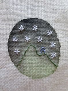 starry night embroidered on fabric paint