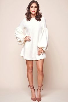 Shop the Morais Puff Sleeved Sweater Dress Off White only at Selfie Leslie! White Dress Winter, White Sweater Dress, Sweater Dress Outfit, Sweater Outfits, Striped Dress, Sweater Dresses, Formal Dresses With Sleeves, Winter Formal Dresses, Sexy Dresses